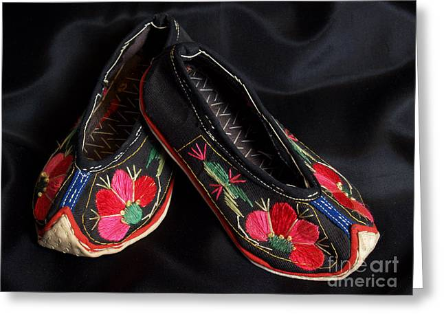 Chinese Minority Greeting Cards - Chinese Embroidered Baby Shoes Greeting Card by Anna Lisa Yoder