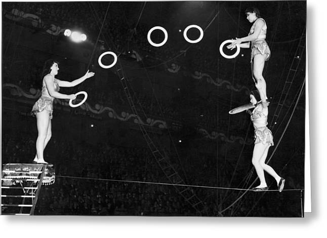 Chinese Family Tightrope Act Greeting Card by Underwood Archives