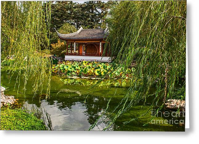 Willow Lake Greeting Cards - Chinese Garden Breeze Greeting Card by Jamie Pham