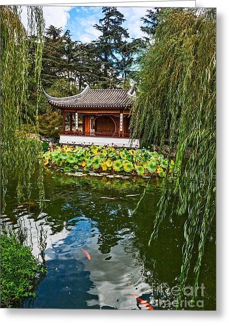 Willow Lake Greeting Cards - Chinese Garden Dream Greeting Card by Jamie Pham