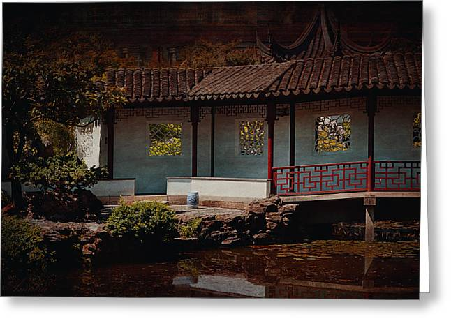 Entrance Door Greeting Cards - Chinese Garden II Greeting Card by Maria Angelica Maira