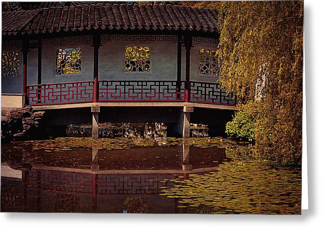 Entrance Door Greeting Cards - Chinese Garden IIl Greeting Card by Maria Angelica Maira