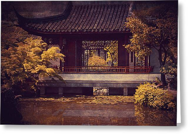 Entrance Door Digital Art Greeting Cards - Chinese Garden Greeting Card by Maria Angelica Maira