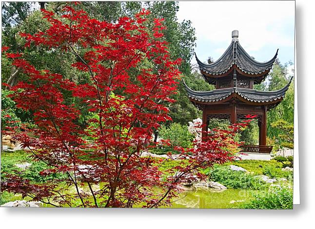Marino Greeting Cards - Chinese Garden with Pagoda and lake. Greeting Card by Jamie Pham