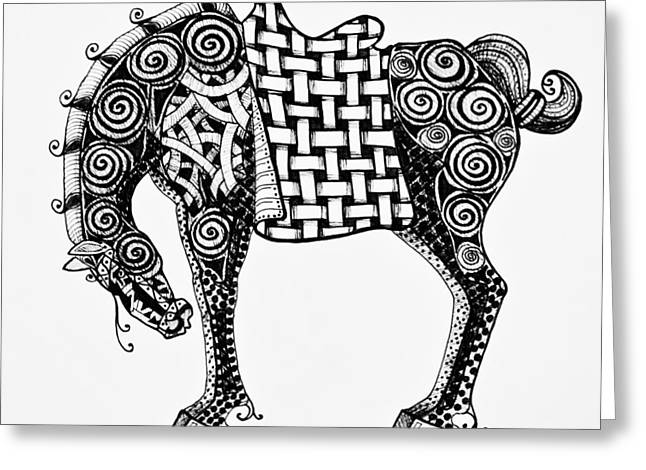 Geometric Art Greeting Cards - Chinese Horse - Zentangle Greeting Card by Jani Freimann