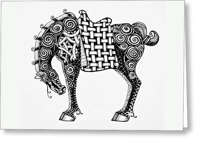 Chinese Horse - Zentangle Greeting Card by Jani Freimann