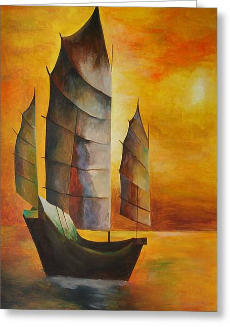 Tracey Harrington-simpson Greeting Cards - Chinese Junk In Ochre Greeting Card by Tracey Harrington-Simpson