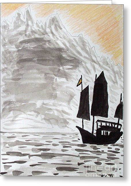 Kevin Croitz Greeting Cards - Chinese Junk Greeting Card by Kevin Croitz