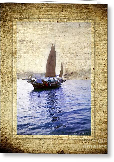 Pirate Ships Greeting Cards - Chinese Junk Greeting Card by Linda Olsen