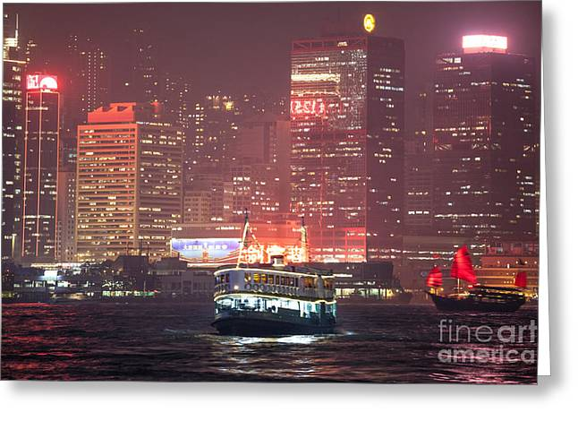 Kowloon Greeting Cards - Chinese junk sail in Hong Kong Greeting Card by Matteo Colombo