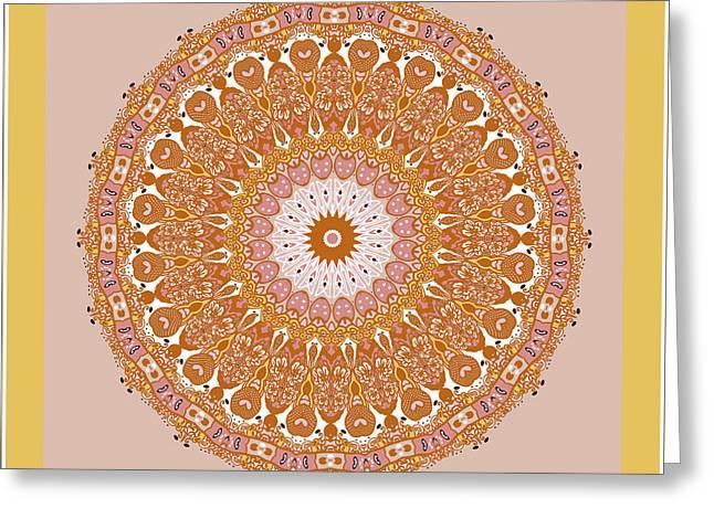 Recently Sold -  - Kite Greeting Cards - Chinese Kite Mandala Yellow Orange Greeting Card by Joy McKenzie