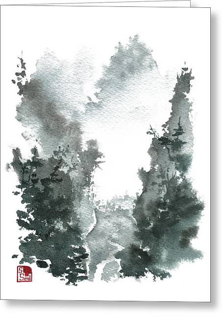 Chinese Landscape Greeting Cards - Chinese Landscape -MistyValley Greeting Card by Sean Seal