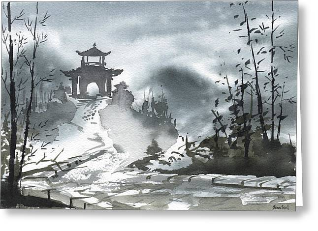 Chinese Landscape Greeting Card by Sean Seal