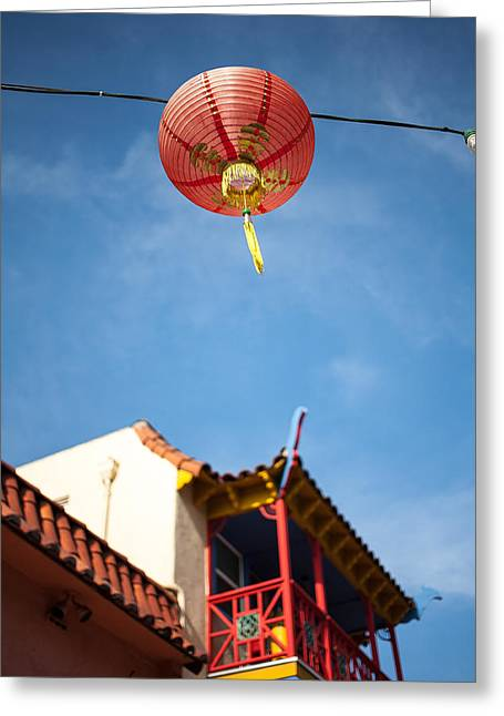 Urban Buildings Greeting Cards - Chinese Lantern Greeting Card by Peter Tellone