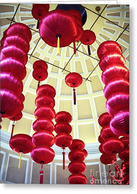 Chinese New Year Greeting Cards - Chinese Lanterns Greeting Card by John Rizzuto