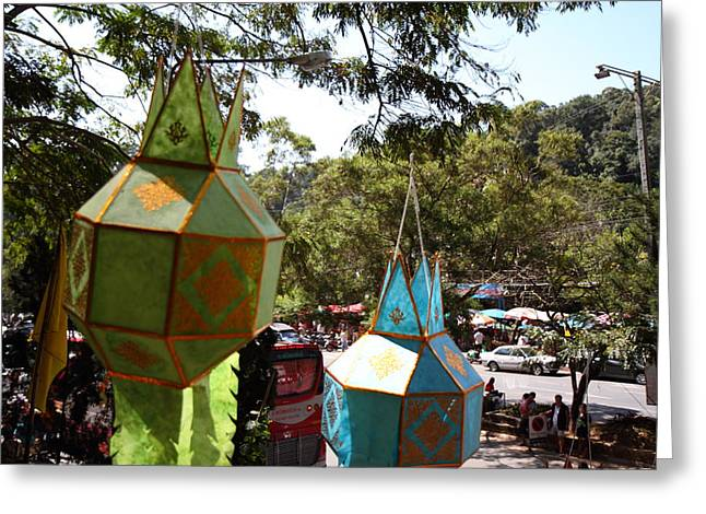 Doi Greeting Cards - Chinese Lanterns - Wat Phrathat Doi Suthep - Chiang Mai Thailand - 01135 Greeting Card by DC Photographer
