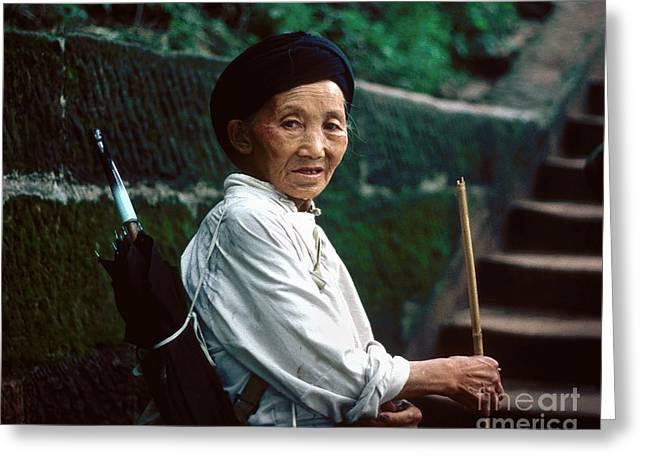 Chinese Minority Greeting Cards - Chinese Minority Woman Greeting Card by Eva Kato