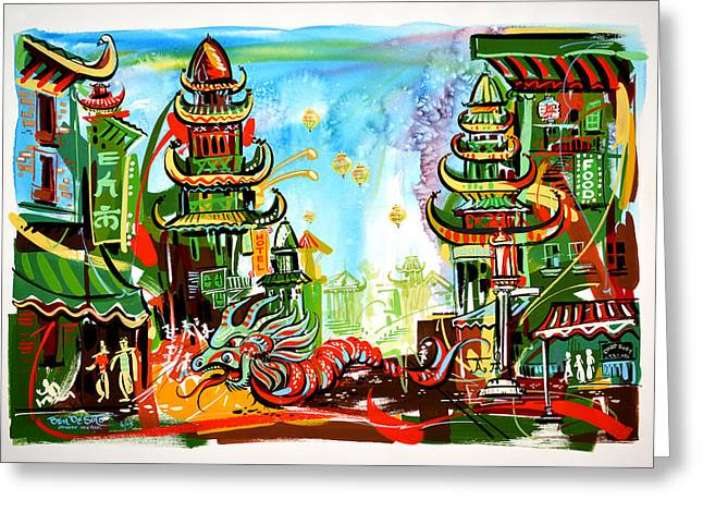 Town Mixed Media Greeting Cards - Chinese New Year Greeting Card by Ben De Soto