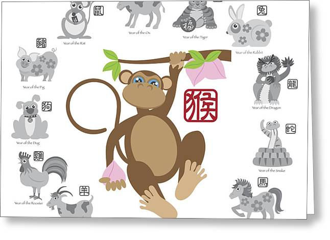 Year Of The Monkey Greeting Cards - Chinese New Year Monkey Color with Twelve Zodiacs Illustration Greeting Card by JPLDesigns