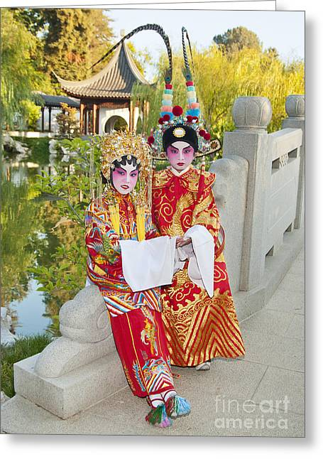 Escort Girl Greeting Cards - Chinese Opera Children - In full traditional Chinese Opera costumes. Greeting Card by Jamie Pham