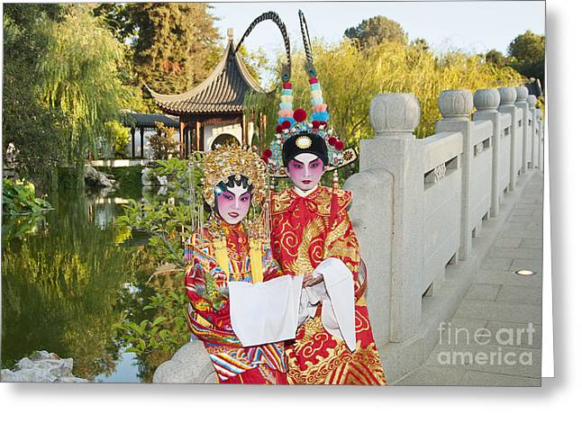Escort Girl Greeting Cards - Chinese Opera Children - Traditional Chinese Opera costumes. Greeting Card by Jamie Pham
