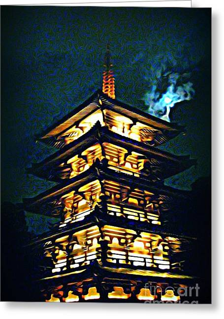 Jsm Fine Arts Halifax Greeting Cards - Chinese Pagoda at Night with Full Moon Greeting Card by John Malone