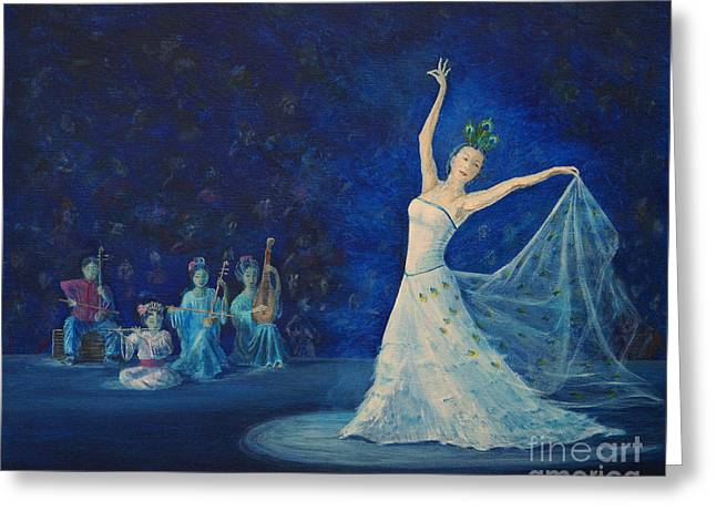Light And Dark Greeting Cards - Chinese Peacock Dance-1 Greeting Card by Anthony Lyon