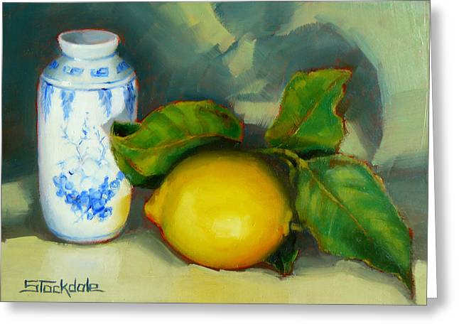 Margaret Stockdale Greeting Cards - Chinese Pot And Lemon Greeting Card by Margaret Stockdale