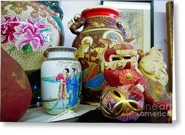 Hand Greeting Cards - Chinese pottery and vases Greeting Card by Amy Cicconi
