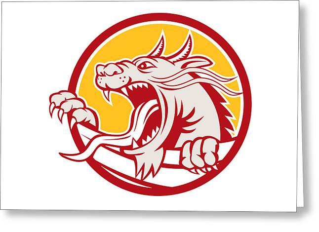 Growling Digital Greeting Cards - Chinese Red Dragon Head Growling Circle Retro Greeting Card by Aloysius Patrimonio