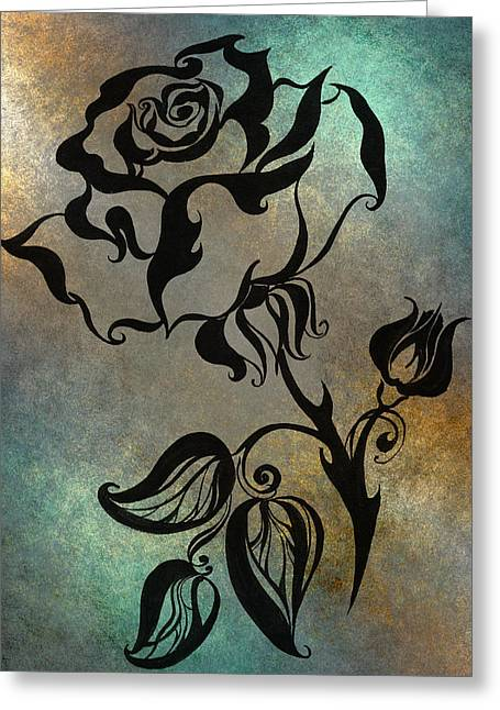 Texture Floral Drawings Greeting Cards - Chinese Rose. Blue Greeting Card by Jenny Rainbow