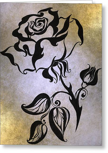 Texture Floral Drawings Greeting Cards - Chinese Rose. Golden Greeting Card by Jenny Rainbow