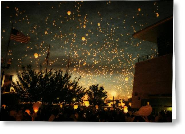 Paper Lantern Greeting Cards - Chinese Sky Lanterns Greeting Card by Michelle Calkins