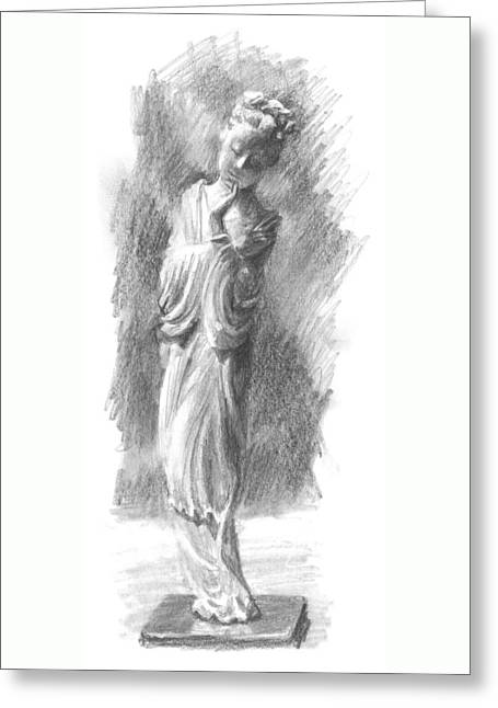 Interior Still Life Drawings Greeting Cards - Chinese Statue Greeting Card by Sarah Parks