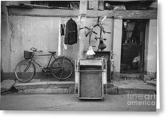 Drying Laundry Greeting Cards - Chinese Still Life with Bicycles and Laundry Greeting Card by Dean Harte