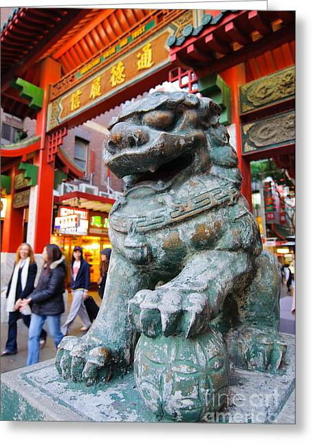 Australian Ethnicity Greeting Cards - Chinese Stone Lion protects the Chinatown Gate Greeting Card by David Hill