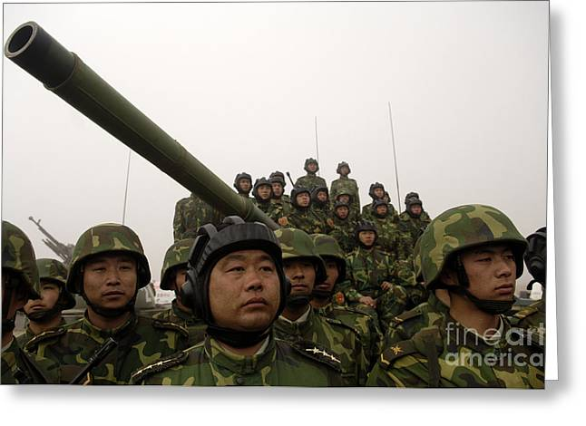 Liberation Greeting Cards - Chinese Tanker Soldiers Greeting Card by Stocktrek Images