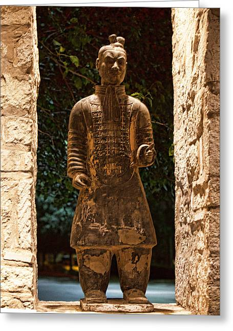 Terra Cotta Sculpture Greeting Cards - Chinese Tarra Cotta Warrior 2 Greeting Card by Linda Phelps