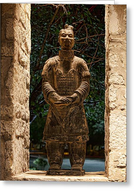 Terra Cotta Sculpture Greeting Cards - Chinese Tarra Cotta Warrior Greeting Card by Linda Phelps