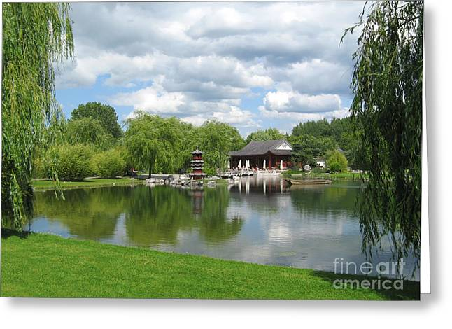 Tea Tree Greeting Cards - Chinese Tea Pavilion near the lake Greeting Card by Kiril Stanchev