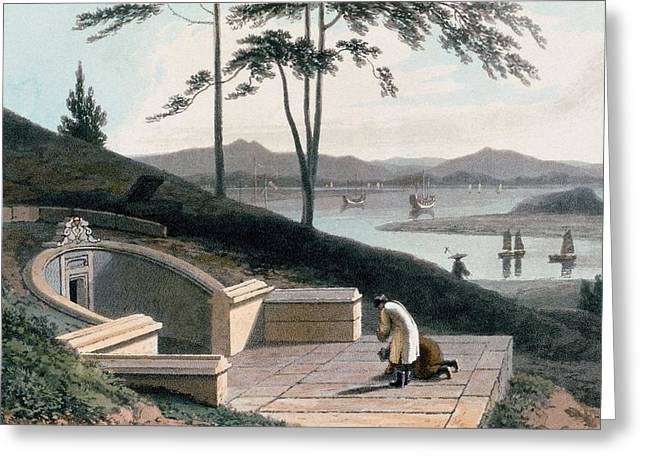 Chinese Landscape Greeting Cards - Chinese Tomb With Two Mourners Greeting Card by Thomas & William Daniell
