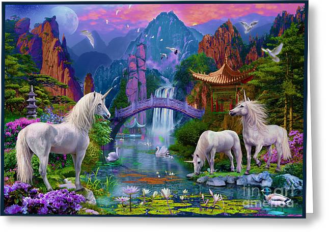 Extinct And Mythical Digital Art Greeting Cards - Chinese Unicorns Greeting Card by Jan Patrik Krasny