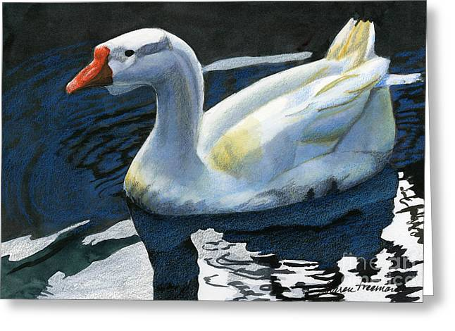 Realistic Mixed Media Greeting Cards - Chinese Waterfowl Greeting Card by Sharon Freeman