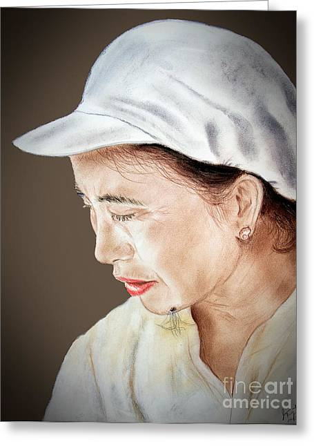 Beauty Mark Greeting Cards - Chinese Woman with a Facial Mole II Greeting Card by Jim Fitzpatrick