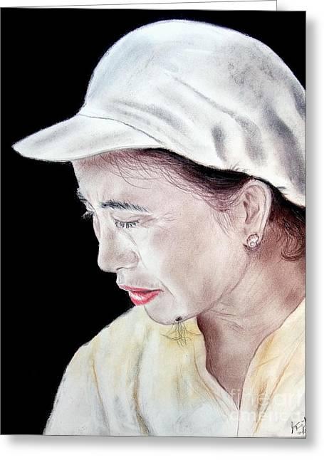 Facial Mole Mixed Media Greeting Cards - Chinese Woman with a Facial Mole Greeting Card by Jim Fitzpatrick