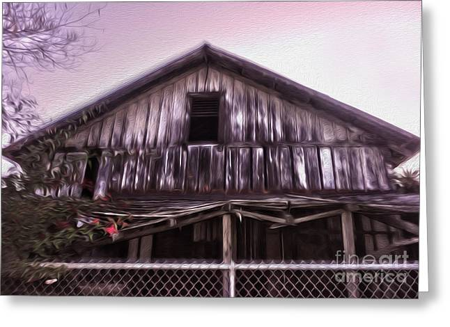 Chino Haunted Barn Greeting Card by Gregory Dyer