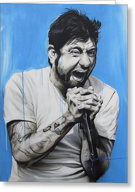 Framed Print Greeting Cards - Chino Moreno Greeting Card by Christian Chapman Art