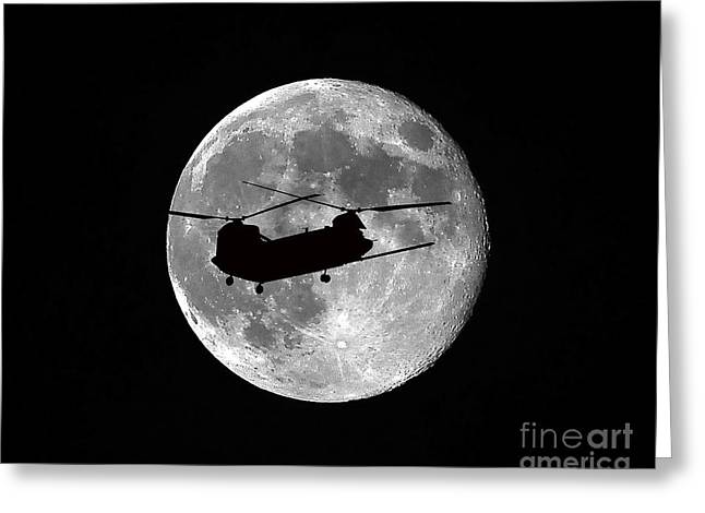 Luna Greeting Cards - Chinook Moon B and W Greeting Card by Al Powell Photography USA