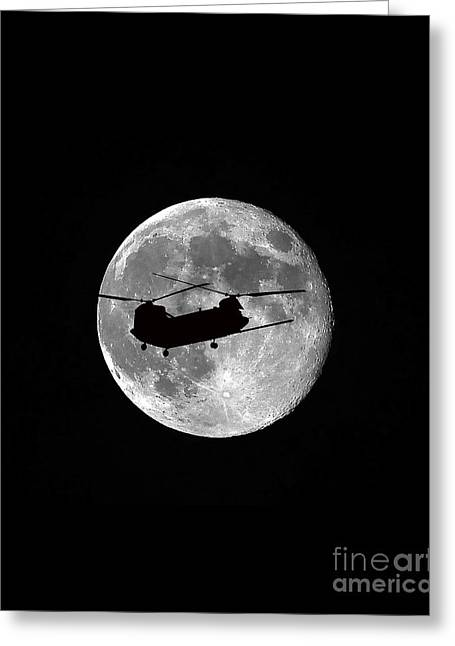 Helicopter Photographs Greeting Cards - Chinook Moon B and W Vertical Greeting Card by Al Powell Photography USA