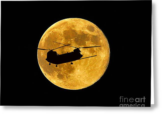 Helicopter Photographs Greeting Cards - Chinook Moon Color Greeting Card by Al Powell Photography USA